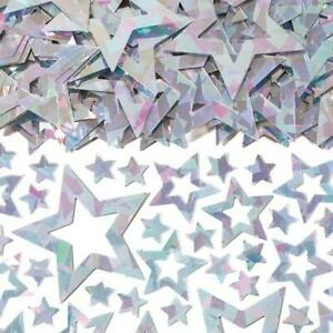 3 x Silver Stars Shimmer Prismatic Table Confetti Sprinkles 14g