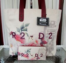 Star Wars Loungefly R2-D2 Floral Tote Canvas Shopper Bag Purse Disney Wallet NWT