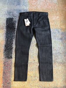 Lee 101 Rider Dry Selvage Denim Charcoal/Black  32/32 Slim Fit Made In Italy New