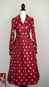 Lindy Bop 'Shannon' Red Mistletoe Polka Dot Christmas Midi Swing Dress BNWT