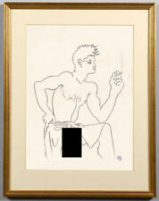 Jean Cocteau Drawing Nude Male Youth Gay French Homosexual portrait smoking