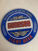 "Vintage Genesee Light Beer Sign 16"" Blue,Red ,reflecting silver man cave,Bar"