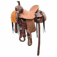 Western Brown & Natural Leather Roper Ranch Saddle With Strings 16""