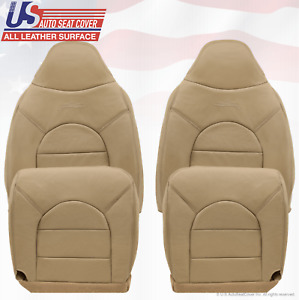 1999 Ford F250 350 Lariat Driver & Passenger Tops/Bottoms Leather Seat Cover TAN