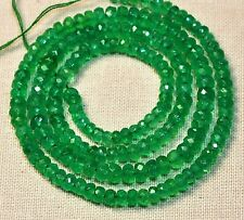 """Ebay 65 CT 3*5mm 100% Natural Zambian Emerald Faceted Roundel Beads 16.5"""" Strand"""