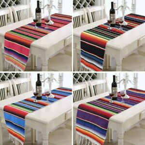 Mexican Style Table Runner Home Party Decor Fringe Cotton Tablecloth Striped