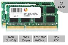 16GB DDR3 1600Mhz PC3 -12800 sodimm Laptop memory RAM PACK 2x 8GB 12800s DDR3L