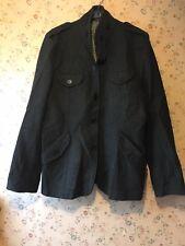 Brown Sound Mens Army Military Green Epaulette Wool Jacket Blazer Coat L/XL
