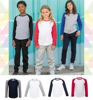 Childrens Long Sleeve Baseball Raglan Casual T Shirt Tee Jersey Top Tshirt Kids