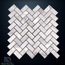 Carrara Marble Herringbone Mosaic Tile Wall Floor Kitchen Bathroom Splashback