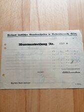 Warenanweisung, 1935, Genossenschaften in Niederösterreich