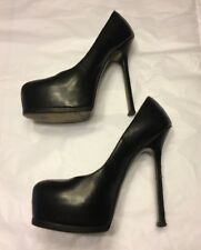 Auth YVES SAINT LAURENT YSL Tribtoo black caviar leather heels pumps 37 UK 4