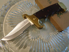 Elk Ridge Assisted Open Folding Bowie Hunter Pocket Knife Gold Pakka A930GB New