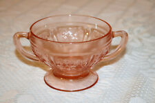 "Federal Glass SHARON CABBAGE ROSE Pink Depression USA 3 1/8""h Open Sugar Bowl"