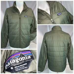 Patagonia Winter Jacket S Men Green Quilted Poly Full Zip Mint Cond YGI I0-387