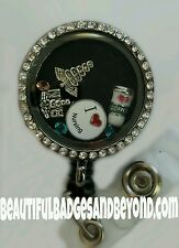 TWO Custom Floating Locket Retractable Badge Holder! You choose the charms!
