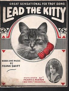 Lead the Kitty 1917 Large Format Sheet Music