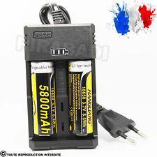 2 PILES ACCU RECHARGEABLE 18650 3.7v 5800mAh BATTERY BATTERIE + CHARGEUR RS-99