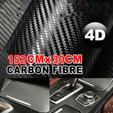 "Gloss Black 4D Carbon Fiber 12""x60""  Vinyl Car Phone Laptop Wrap Sticker Film"