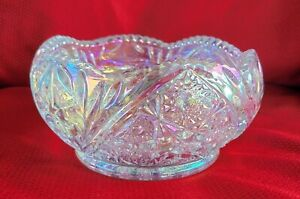 """Vintage L.E. SMITH clear iridescent OHIO STAR saw tooth bowl CARNIVAL GLASS 7"""""""
