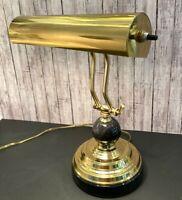"Vintage Brass Piano Lamp Adjustable Arm Bankers Desk Lamp Black Marble Base 13"""
