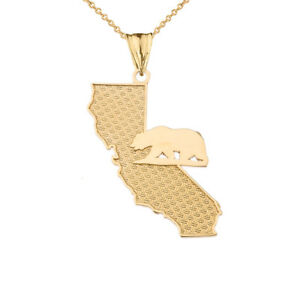 14k Yellow Gold California State Map With Bear Silhouette  Pendant Necklace
