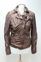 REVERSO Ladies Brown Leather Collared Zip Front Biker Jacket Size 38 UK10 NEW