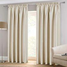 """Cream Tape Top Curtains Faux Silk Plain Ready Made 3"""" Pencil Pleat Curtain Pairs"""