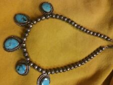 """Old Morenci Sterling stamped Squash blossom necklace 16"""" handcut stones."""