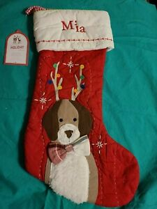 NWT Pottery Barn Kids DOG WITH ANTLERS Christmas Quilted Stocking- defect mono