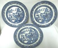 "3 Churchill England Blue Willow Asian Pattern Vintage 10.3"" Dinner Plate Set 3"