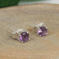 Solid 925 Sterling Silver Amethyst Gemstone Round Stud Earrings For Women's