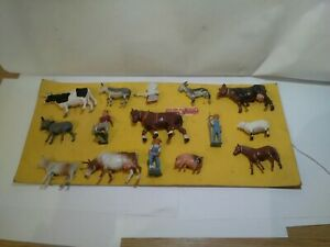 Vintage Lead Farming Figures Animals By Crescent Original Box Backing Card...