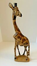 """Hand Carved Wood Giraffe 12"""" x 3 1/2"""" x 1 3/4"""" Gorgeous Details"""