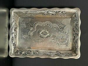 CHINESE EXPORT LAIN CHANG 925 STERLING SILVER  DRAGON TRAY