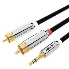 10 Metre Stereo Cable 3.5mm Jack Plug to TWIN 2 x RCA PHONO Audio Lead GOLD