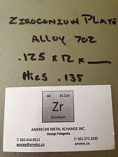 """ZIRCONIUM SHEET ALLOY 702 .125"""" X 12"""" X 2"""""""