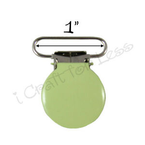"10 Suspender Pacifier Holder Mitten Clips 1"" Lime  Enamel Round Face w/ Inserts"