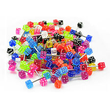 Wholesale Pack 100pcs Surgical Steel Barbell w/ Dice Design UV Colored Balls