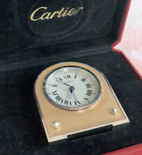 Rare Authentic Cartier Table/Travel Alarm Clock With Pink Lacquer Finish w/Box