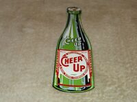 "VINTAGE CHEER UP SUPER CHARGED HEALTHFUL BEVERAGE 8.5"" PORCELAIN METAL SODA SIGN"