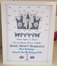 Personalised Framed Crown Handmade Boy Girl Baby First 1st Birthday Gift