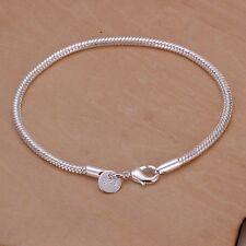 """Women's Mens Unisex 925 Sterling Silver Fit European Beads Bracelet 8"""" L26"""
