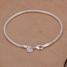 Women's 925 Sterling Silver Fit European Bracelet 8 Inches 3MM lobster L26