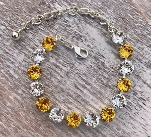 Crystal Bracelet Silver Plate Made With Swarovski Elements Yellow Clear Diamond