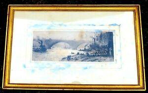 Antique WILLIAM LIONEL WYLLIE Signed Drypoint ETCHING - LONDON BRIDGE, Proof
