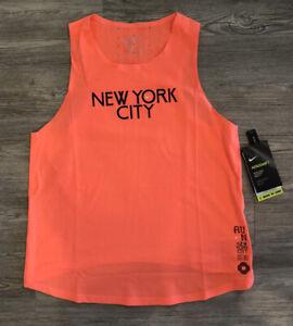 Nike Aeroswift NYC Singlet New York City Marathon Tank Women's Sz S Bright Mango