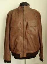 MEN'S MEDIUM BROWN LEATHER BOMBER JACKET SIZE M - #3040