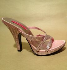 Bordello By Pleaser Women's Siren-02R High Heel Sandal Baby Pink w/ Rhinestones