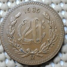 1935 Mexico 20 Centavos Coin Bronze • 15 g • ⌀ 32.5 mm KM# 437